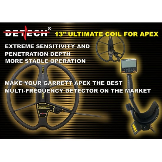 DETECH Ultimate 13″ Search Coil for Garrett Ace APEX with Coil Cover Included | Detech | 13 Ultimate DD
