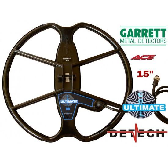 DETECH Search Coil 15 DD For Garrett Ace Series Metal Detectors 150/200/ 200i/ 250/300/ 300i/ 350/400/ 400i & Garrett Euro ACE
