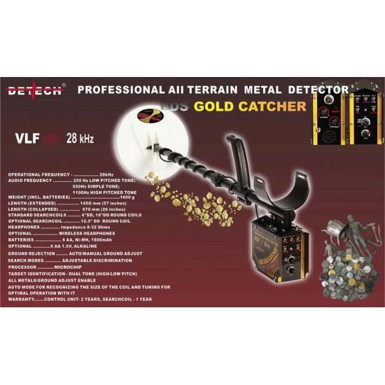 "DETECH EDS GOLD Catcher 28kHz VLF Metal Detector With 3 coils  6"" and 10"" closed design  coils and 12x12""SEF Pro coil | Detech | VLF DETECTORS"